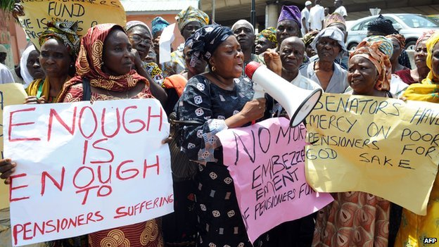 Ex-civil servants protesting in Abuja, Nigeria (October 2012)