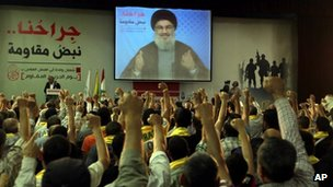 Hezbollah supporters raise their hands in salute as Hezbollah leader Sheik Hassan Nasrallah speaks on a screen via a video link