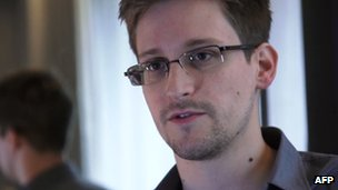 Screen grab of Edward Snowden from interview with the Guardian broadcast on 6 June 2013