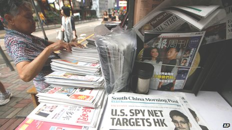 Edward Snowden makes headline news in Hong Kong on 13 June 2013
