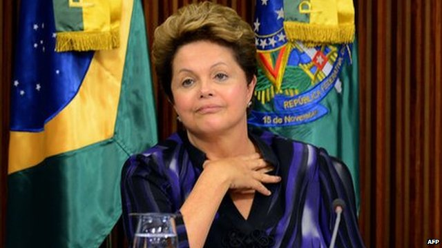 Brazilian President Dilma Rousseff during a meeting with governors and city mayors at Planalto Palace in Brasilia