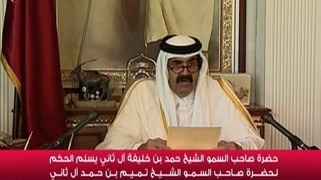 An image grab taken from Qatar TV shows Qatars Emir Sheikh Hamad bin Khalifa al-Thani delivering a televised speech in Doha