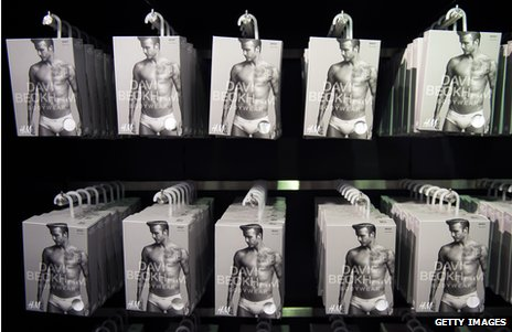 Stacks of underwear featuring David Beckham on the box