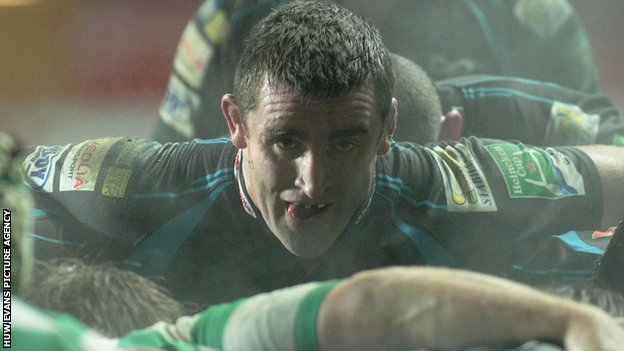 Huw Bennett packs down at a scrum for the Ospreys