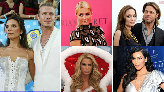 Composite of celebrities: Victoria and David Beckham; Paris Hilton; Angelina Jolie and Brad Pitt; Kim Kardashian; Katie Price