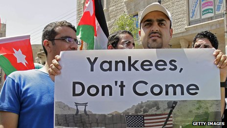 A Jordanian demonstrator holds a banner during a protest in Amman in April 2013 against an American troop deployment in Jordan.