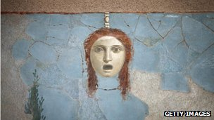 A detail of a large fresco at the Life And Death In Pompeii And Herculaneum exhibition