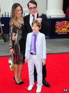 Sarah Jessica Parker and Matthew Broderick with their son James Broderick arriving at the opening night of Charlie and the Chocolate Factory at the Theatre Royal, Drury Lane