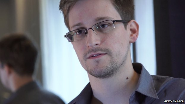 Edward Snowden, looking at the camera