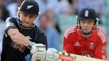 New Zealand's Hamish Rutherford hits a six