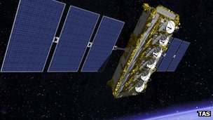 Artist's impression of an O3b satellite