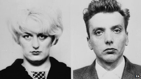 Police mug shots of Myra Hindley and Ian Brady