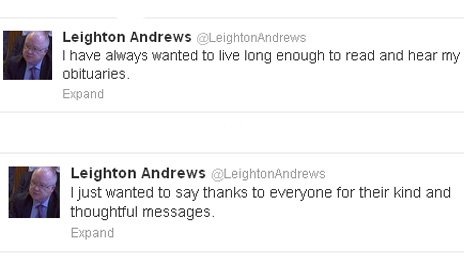 Leighton Andrews took to Twitter to thank people for their support
