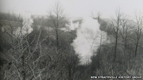 Smoke rises from the mine fire in New Straitsville, Ohio in the 1930s