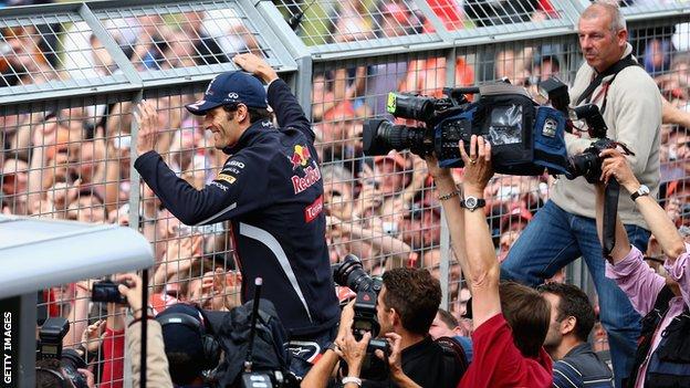 Mark Webber celebrates winning the 2012 British Grand Prix