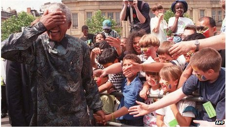 Nelson Mandela in London in 1996