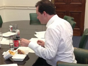 George Osborne eating burger and chips - tweeted by the chancellor on Tuesday night