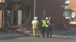 Scene of the suspected gas explosion in Barrow