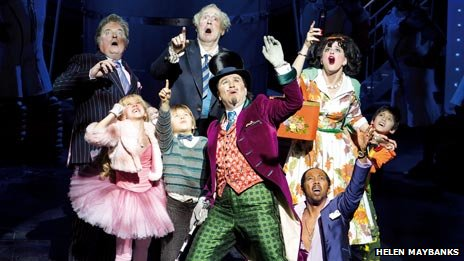 Douglas Hodge (centre) with other members of the Charlie and the Chocolate Factory cast
