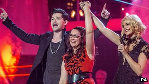 "The Voice winner Andrea Begley with Danny O""Donoghue and Holly Willoughby"