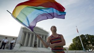 Gay rights advocate waves a rainbow flag in front of the Supreme Court on 26 June 2013 in Washington DC