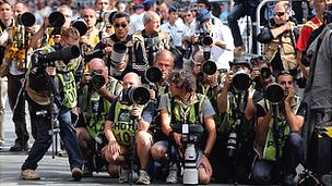 Photographers at the finish of a Tour De France stage
