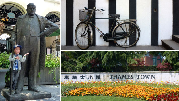 "A composite image showing a statue of Winston Churchill (left), a bicycle (top right), and a sign saying ""Thames Town"" (bottom right)"