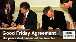 British Prime Minister Tony Blair and Irish Taoiseach Bertie Ahern signing the Good Friday Agreement.