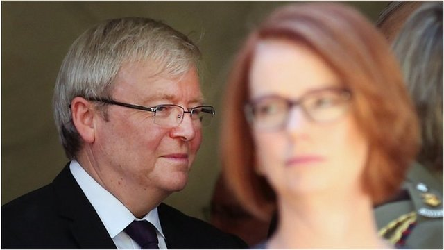 File image of Kevin Rudd and Julia Gillard, taken on 5 March 2013