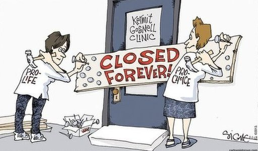 A cartoon showing pro-life and pro-choice campaigners nailing closed the door to Gosnell's clinic