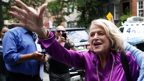 Edith Windsor celebrates after the Supreme Court ruling in her case in New York 26 June 2013