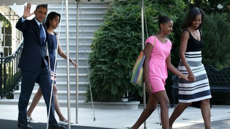 US President Barack Obama walks out from the residence with first lady Michelle Obama, daughters Sasha (3rd L) and Malia (2nd L) prior the their departure for a trip to Africa June 26, 2013 at the White House in Washington, US