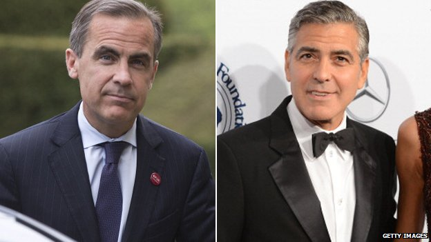 Mark Carney (left) and George Clooney