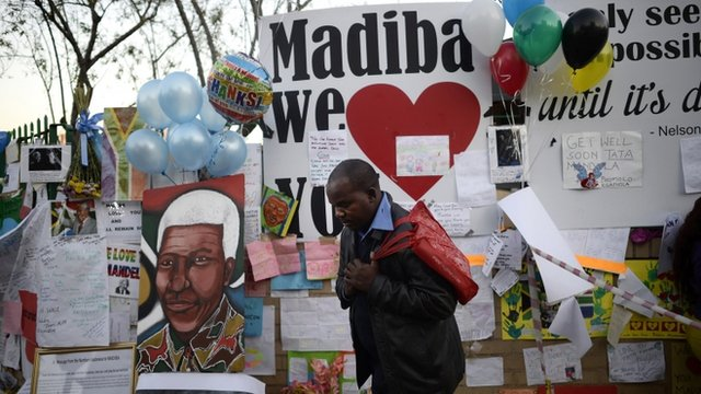 Messages outside the hospital where Nelson Mandela is being treated