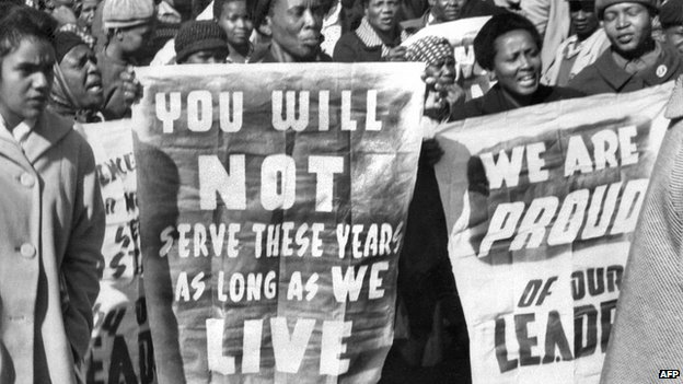 Protesters after the Rivonia trial verdict in 1964