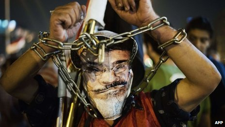 Protester wearing chains and a mask of Mohammed Morsi (26/06/13)