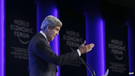 US Secretary of State John Kerry speaks at the World Economic Forum on the Middle East and North Africa at the Dead Sea in Jordan on 26 May, 2013.