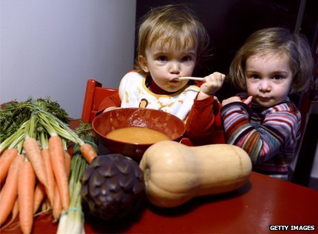 Two French children sit next to lots of vegetables