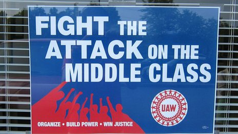 "Union poster in North Carolina with the words ""Fight the attack on the middle class"""