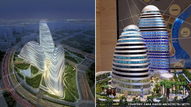 A composite image showing Zaha Hadid's plans for Wangjing SOHO in Beijing (l) and a model  of the Meiquan 22nd Century building in Chongqing (r)