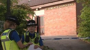 Police outside St Edmund's Church Hall