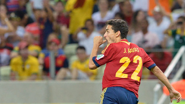 Spain's Jesus Navas celebrates