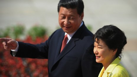 """Chinese President Xi Jinping (Left) welcomed his South Korean counterpart Park Geun-hye as an """"old friend""""."""