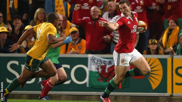 George North scores a try for the Lions