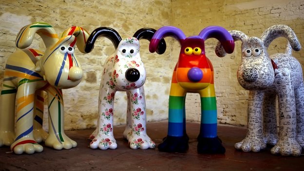 Painted 'Gromit' statues