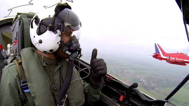 Lewis Hamilton flies with the Red Arrows
