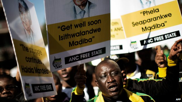 ANC supporters outside the hospital in Pretoria on 28 June 2013
