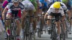 Mark Cavendish (right) beats Andre Greipel in a sprint on stage five in the 2012 Tour de France