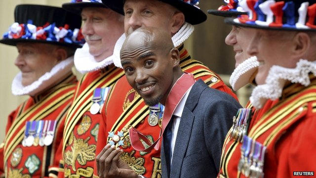 Mo Farah with Beefeaters