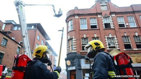 Fire crews tackling a blaze in the Northern Quarter